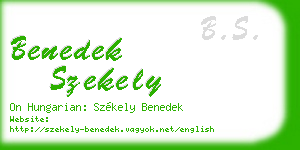 benedek szekely business card